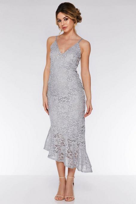 Gray Lace Glitter Asymmetric Hem Maxi Dress