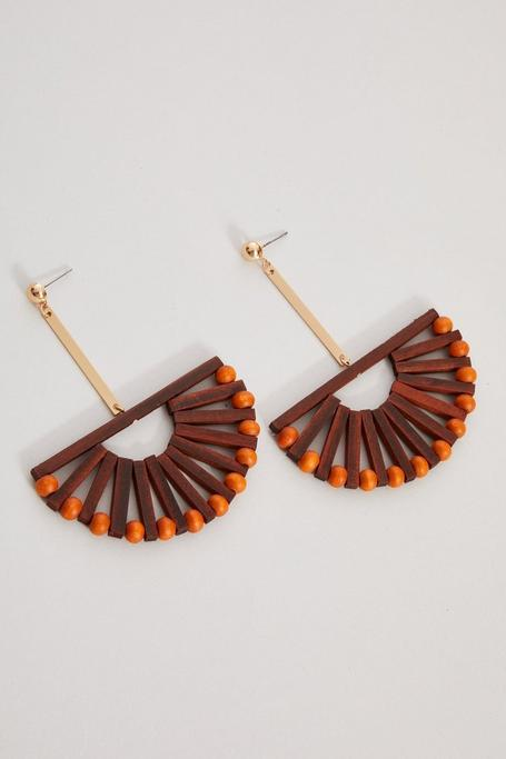 Brown Basket Drop Earrings