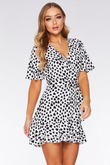 Black and White Heart Print Wrap Dress