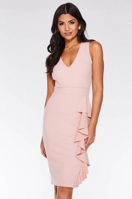 Dusky Pink V Neck Side Frill Midi Dress