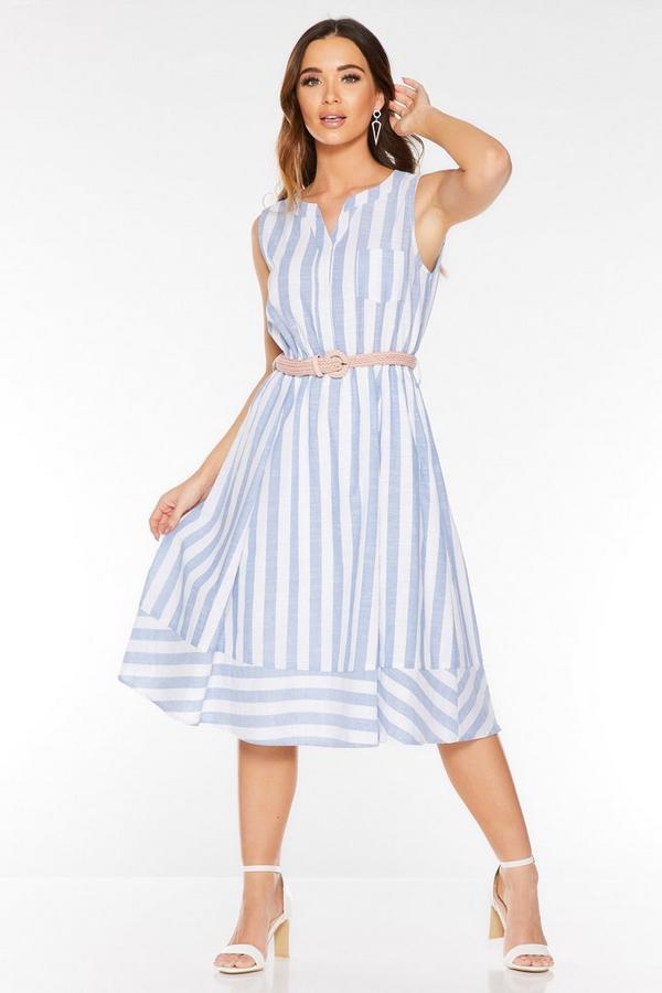Vestido Midi Azul y Blanco a Rayas