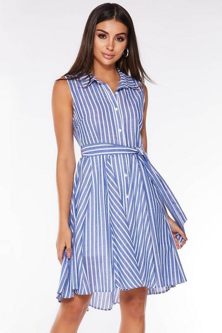 Vestido de Rayas Azul y Blanco con Bajo Asimétrico