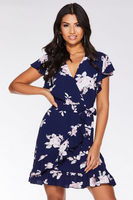Navy and Pink Floral Wrap Dress