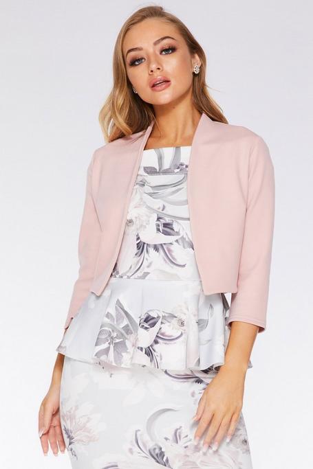 Pink 3/4 Sleeve Crop Jacket