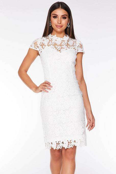 White Crochet Lace Cap Sleeve Midi Dress