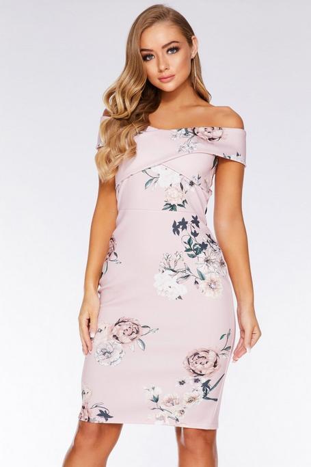 Vestido Midi Rosa con Estampado Floral y Escote Bardot