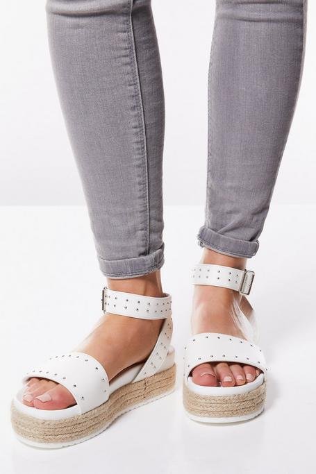 White Faux Leather Stud Flatforms