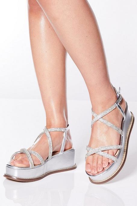 Silver Diamante Strap Flatform Wedges