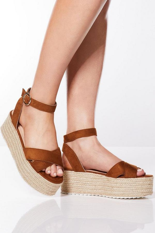 Tan Cross Over Strap Flatform Wedges