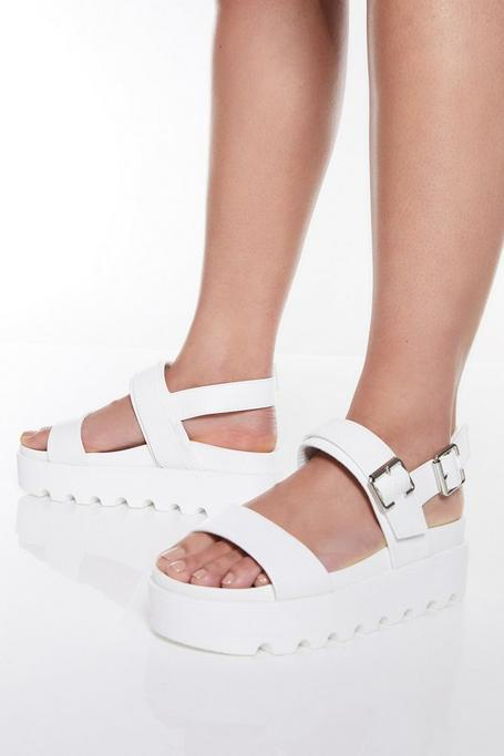 White Buckle Detail Ankle Strap Flatforms