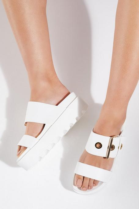 White Buckle Detail Flatforms