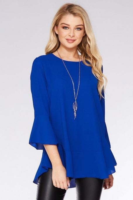 Royal Blue Flute Sleeve Necklace Top