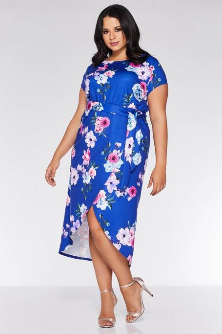 Plus Size Royal Blue Floral Wrap Dress