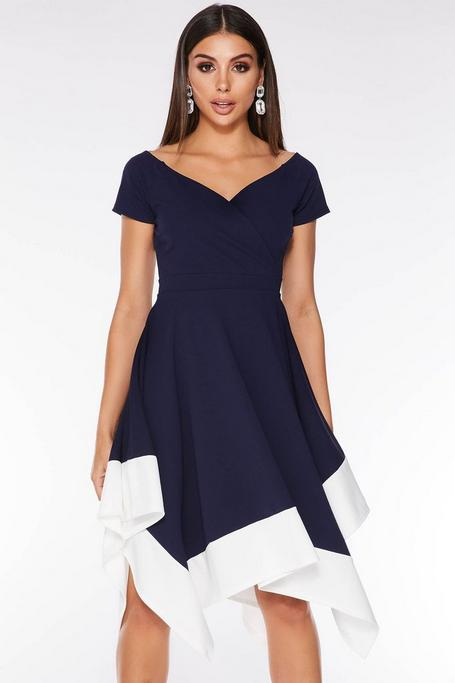 Navy and Cream Off The Shoulder Midi Dress