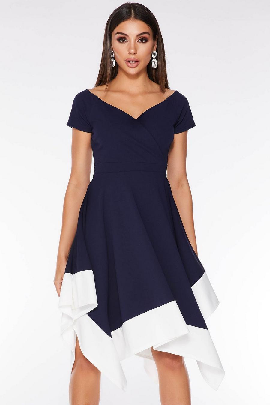 Marino Asimétrico Azul Y Clothing Vestido Con Bajo Quiz Blanco eD9IY2EWH
