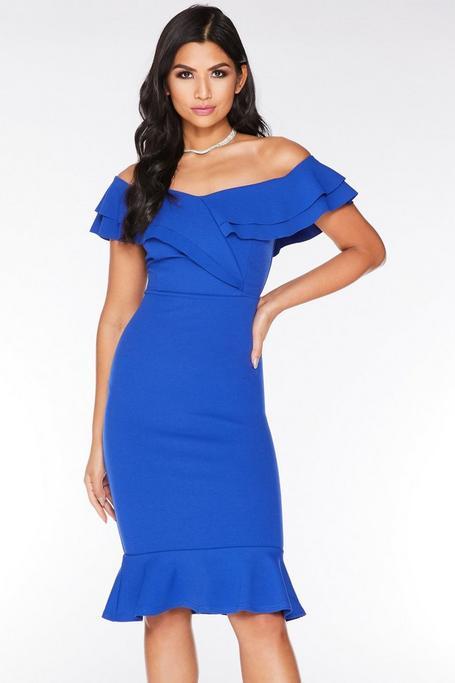 Royal Blue Off The Shoulder Frill Midi Dress