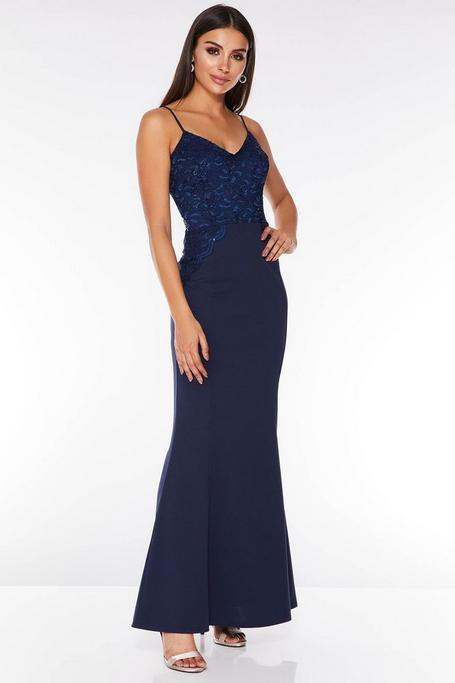 Navy Sequin Lace Maxi Dress