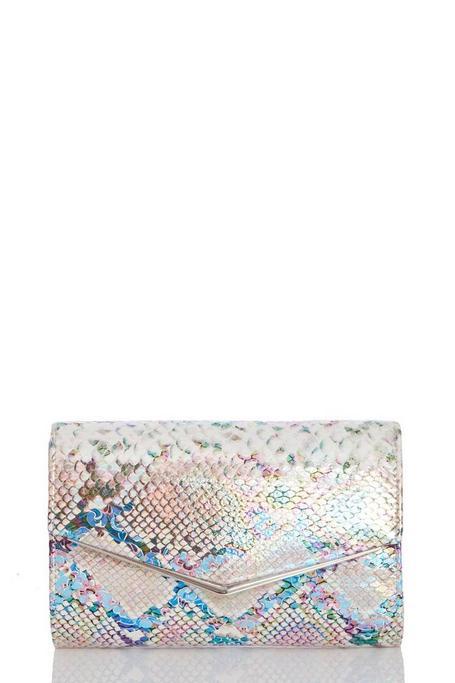 Multicolored Snake Print Clutch Bag