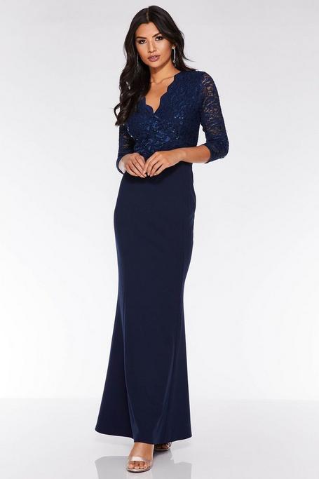 Vestido Largo Azul Marino con Encaje y Lentejuelas