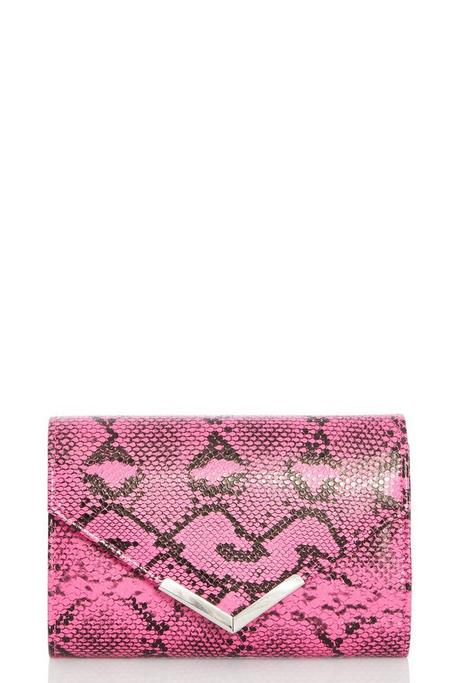 Pink Snake Print Clutch Bag