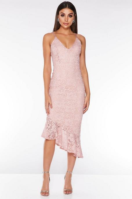 Vestido Rosa Largo con Bajo Asimétrico