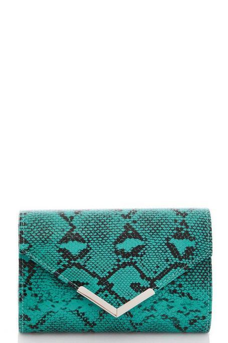 Teal Green Snake Print Clutch Bag