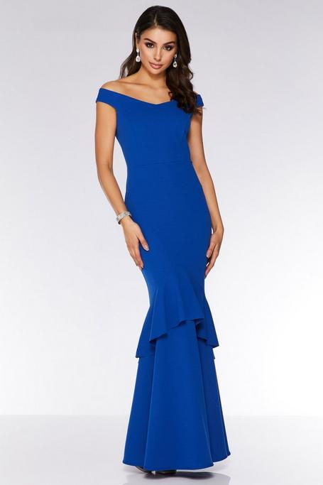Royal Blue Off The Shoulder Mermaid Maxi Dress