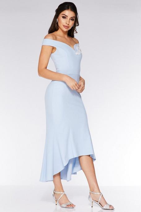 Pale Blue and Cream Off The Shoulder Fishtail Midi Dress