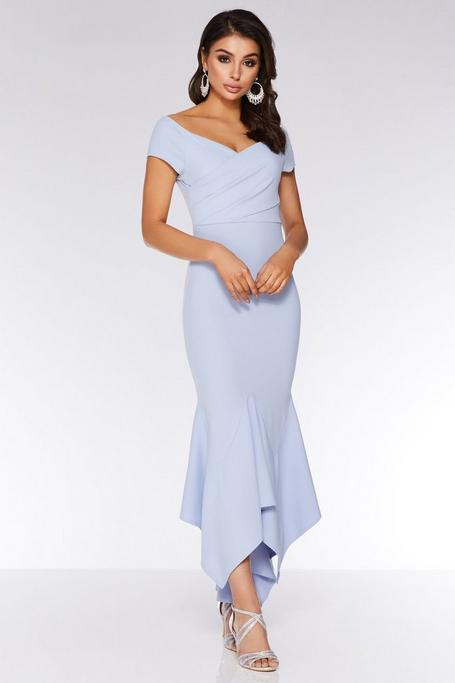 Light Blue Wrap Bardot Maxi Dress