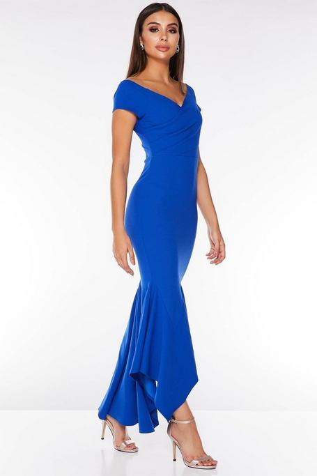 Royal Blue Wrap Off The Shoulder Maxi Dress