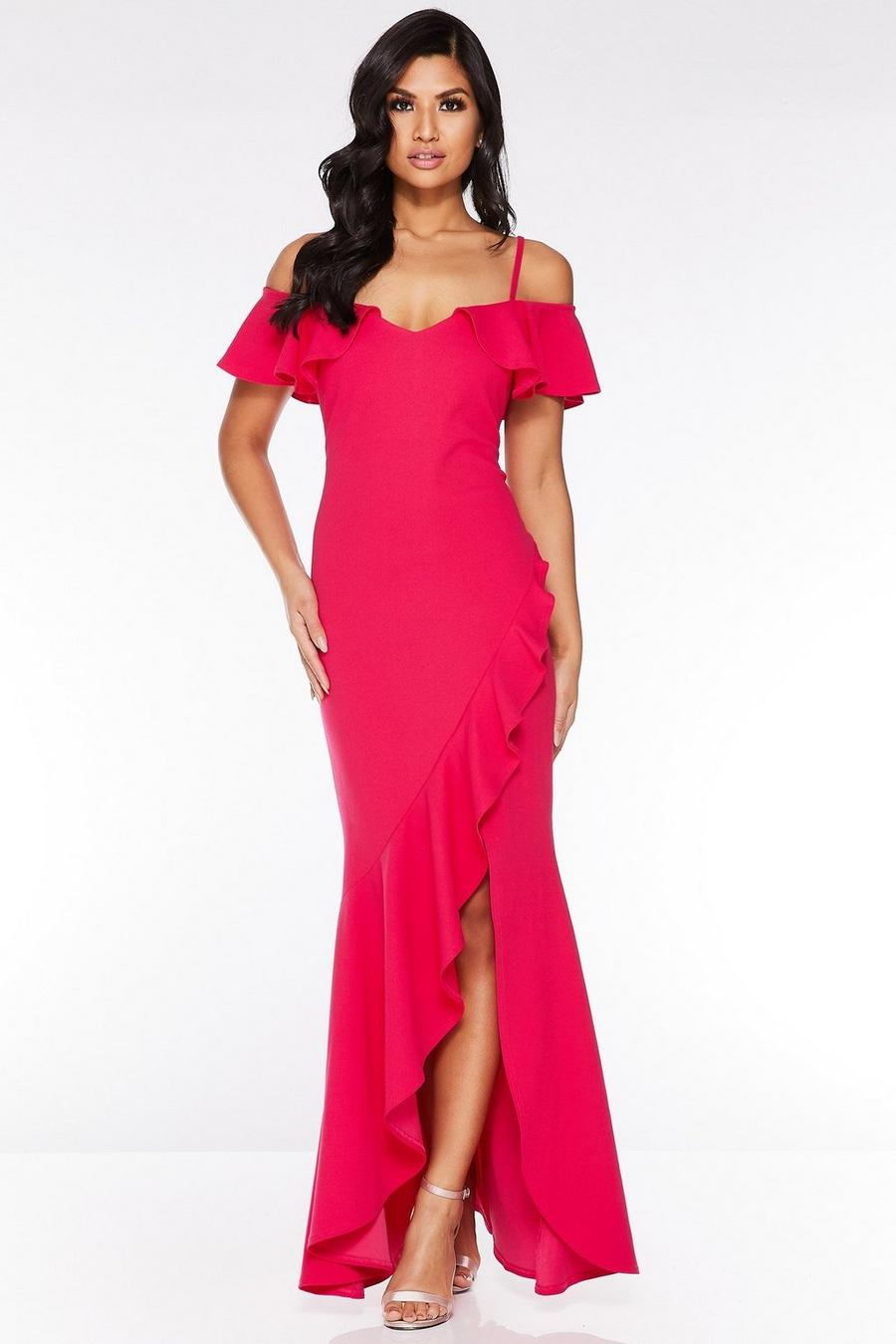 100% quality up-to-date styling big selection Hot Pink Cold Shoulder Frill Maxi Dress