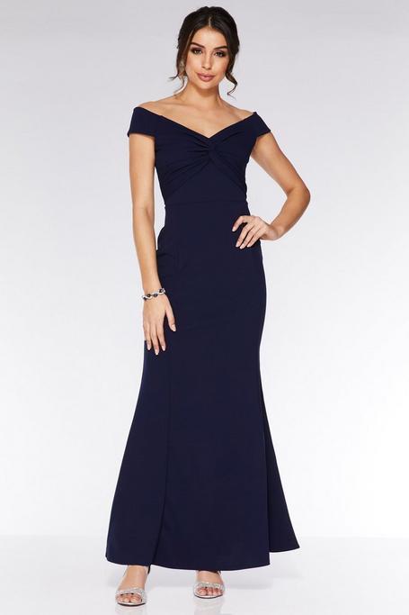 Vestido Largo Azul Marino con Escote Bardot