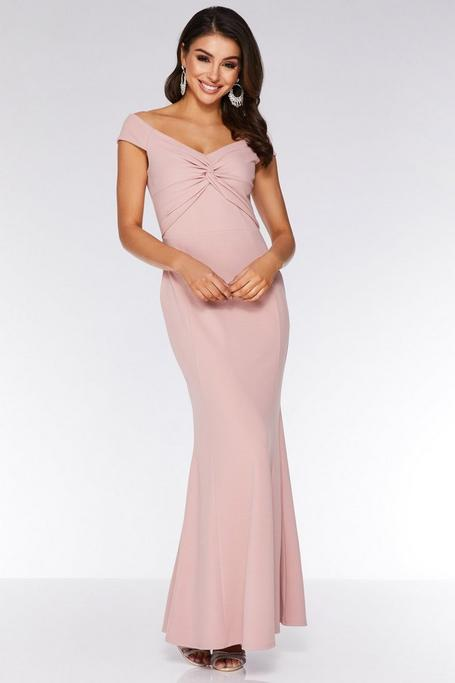 Blush Pink Bardot Knot Front Maxi Dress