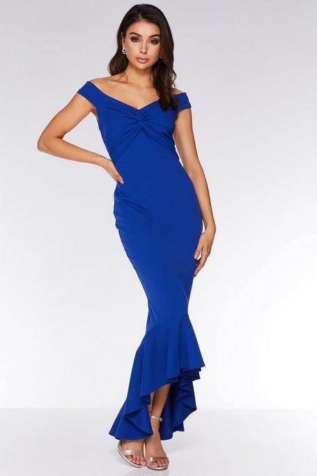 Royal Blue Off The Shoulder Knot Front Maxi Dress