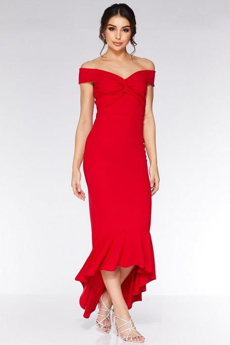Red Off The Shoulder Knot Front Maxi Dress