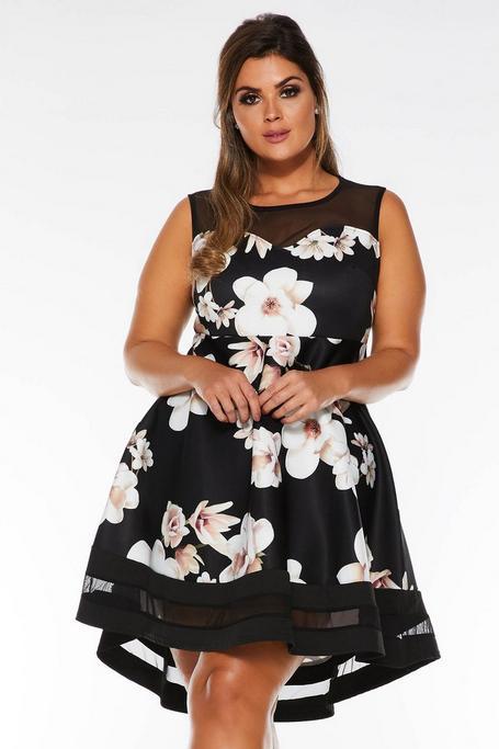 Plus Size Stone and Black Floral Mesh Dip Hem Dress