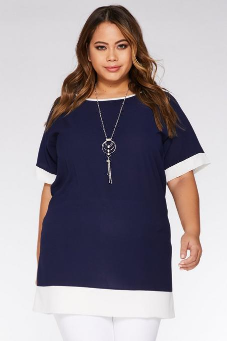 Plus Size Navy and Cream Necklace Tunic Dress