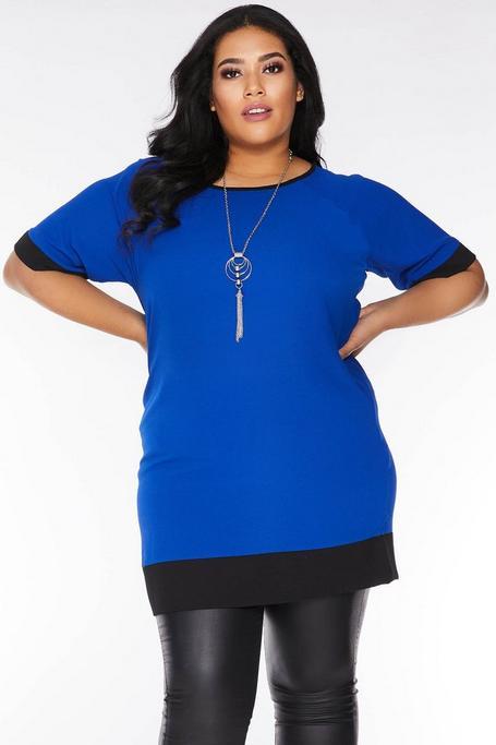 Vestido Curve Corto Azul y Negro con Collar