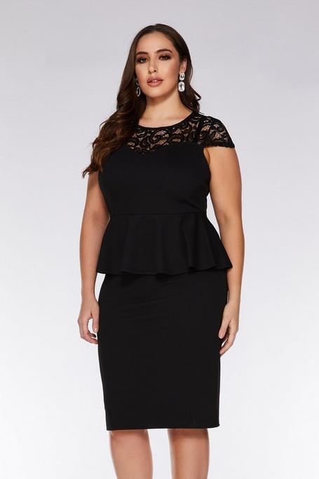 Plus Size Black Lace Cap Sleeve Midi Dress