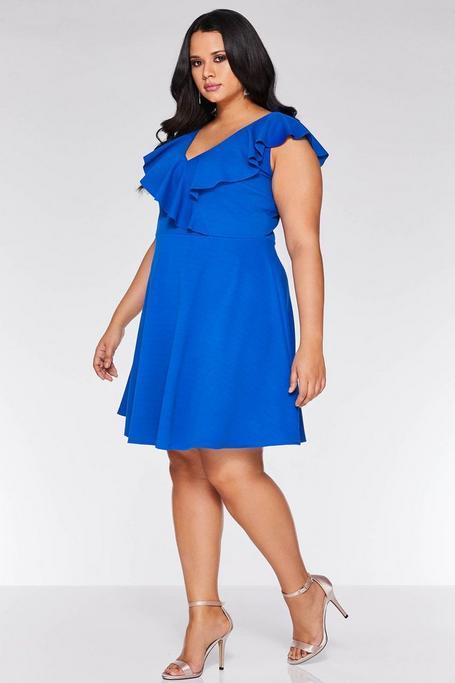 Plus Size Royal Blue V Neck Skater Dress