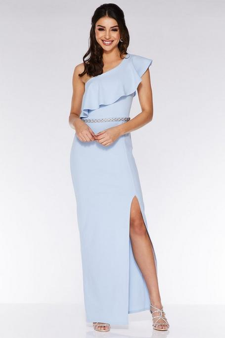 Blue Asymmetric Diamante Waistband Maxi Dress
