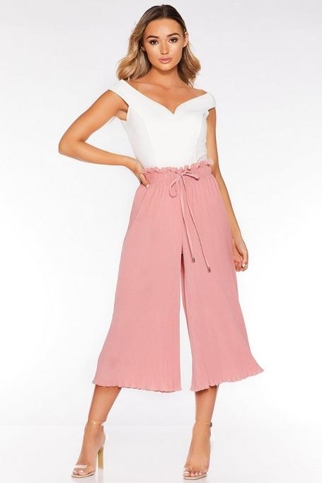 Pink Pleated Paperbag Culotte Trousers