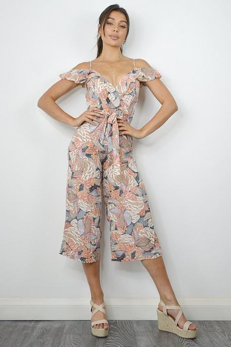Nude And Pink Culotte Floral Jumpsuit
