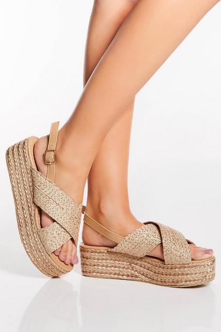 Sandalias de Plataforma Nude y Oro Rosa