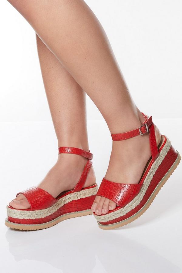 Red Faux Crocodile Faux Leather Flatform Sandals