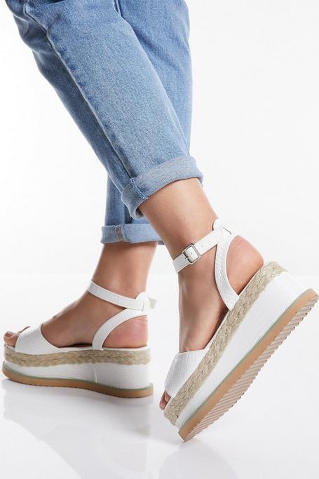 White Faux Crocodile Faux Leather Flatform Sandals
