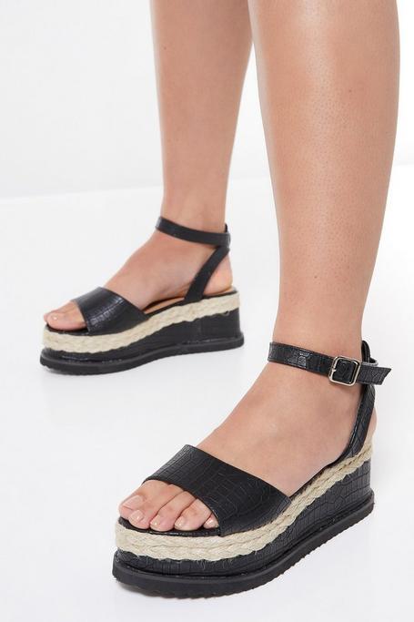 Sandalias de Plataforma Negras Efecto Piel de Cocodrilo