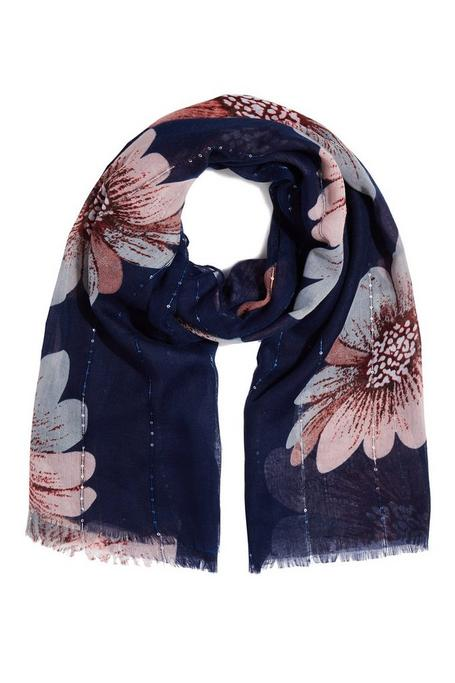Navy Sequin Floral Print Scarf