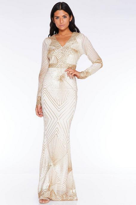 Rose Gold Sequin Long Sleeve Fishtail Maxi Dress