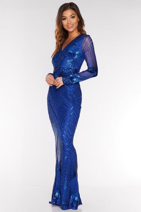 Vestido Largo Azul Real de Corte Sirena con Lentejuelas
